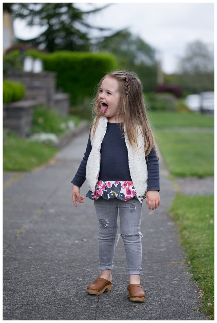 Blog GapKids Faux Fur Reversible Vest Tea Collection Gray Floral Tunic Skinny Mini Destroyed Gray Jeans Sven Clogs-11