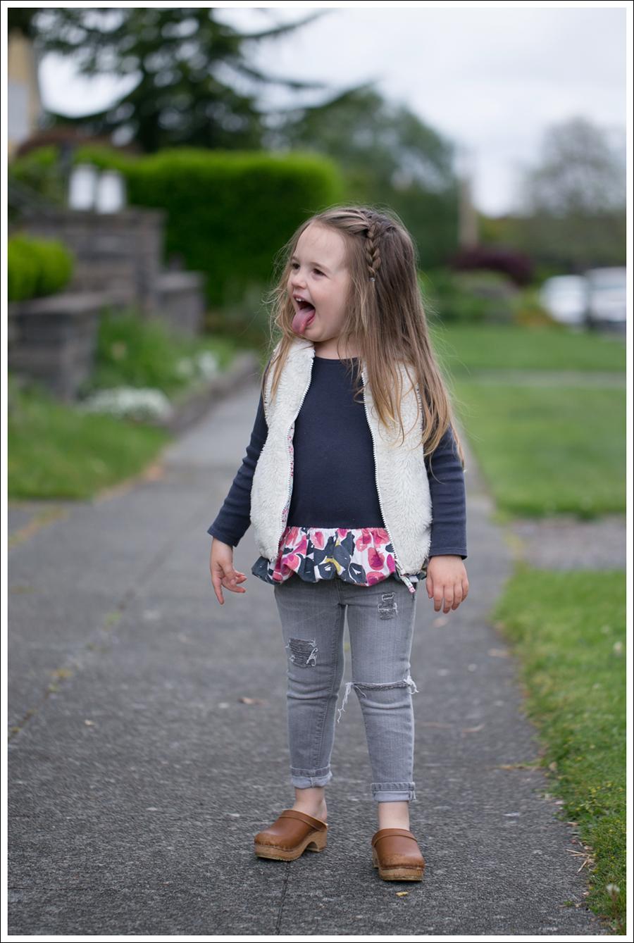 Blog GapKids Faux Fur Reversible Vest Tea Collection Gray Floral Tunic Skinny Mini Destroyed Gray Jeans Sven Clogs-11