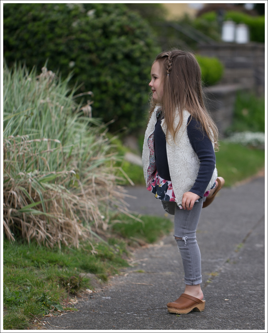 Blog GapKids Faux Fur Reversible Vest Tea Collection Gray Floral Tunic Skinny Mini Destroyed Gray Jeans Sven Clogs-5