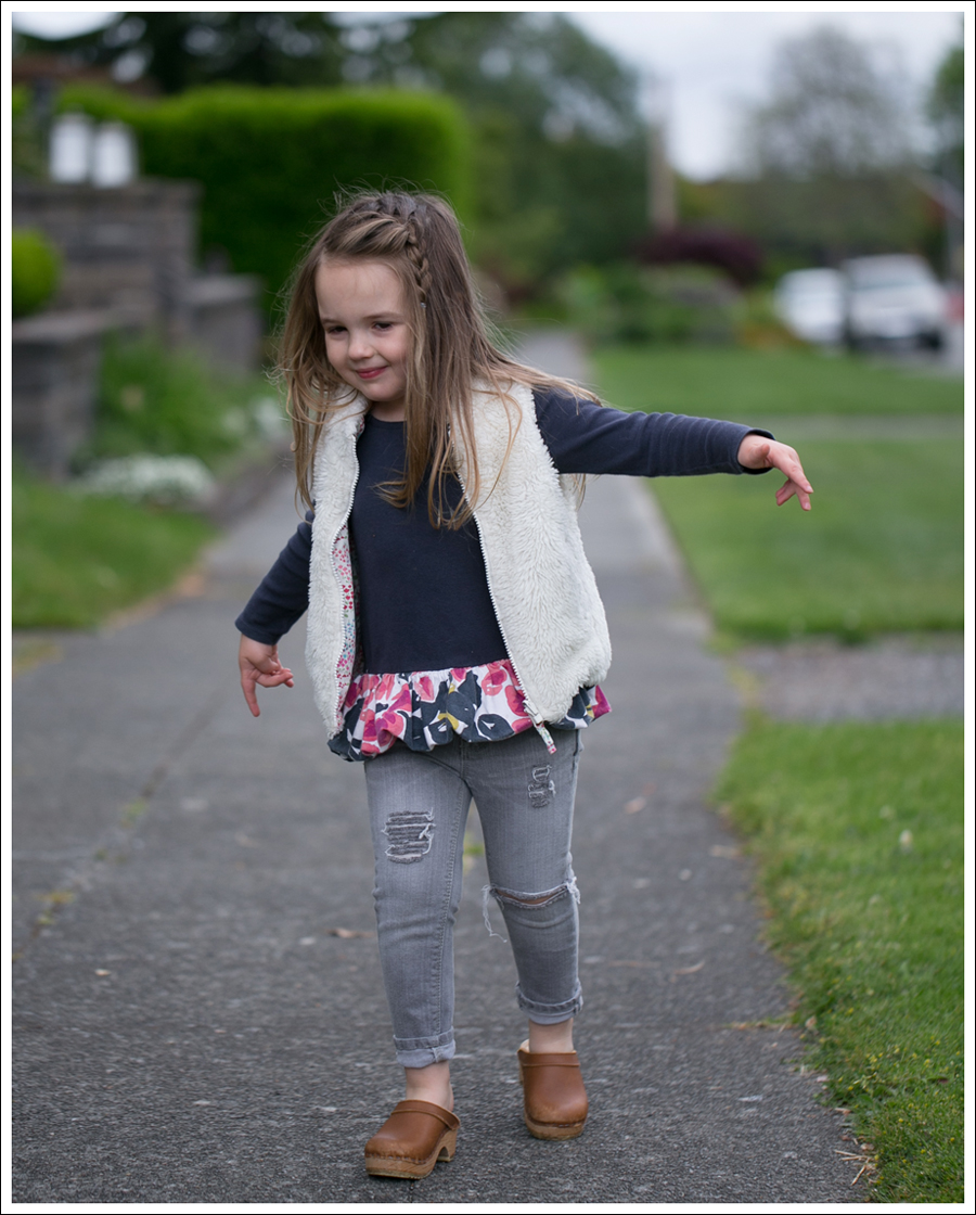Blog GapKids Faux Fur Reversible Vest Tea Collection Gray Floral Tunic Skinny Mini Destroyed Gray Jeans Sven Clogs-7