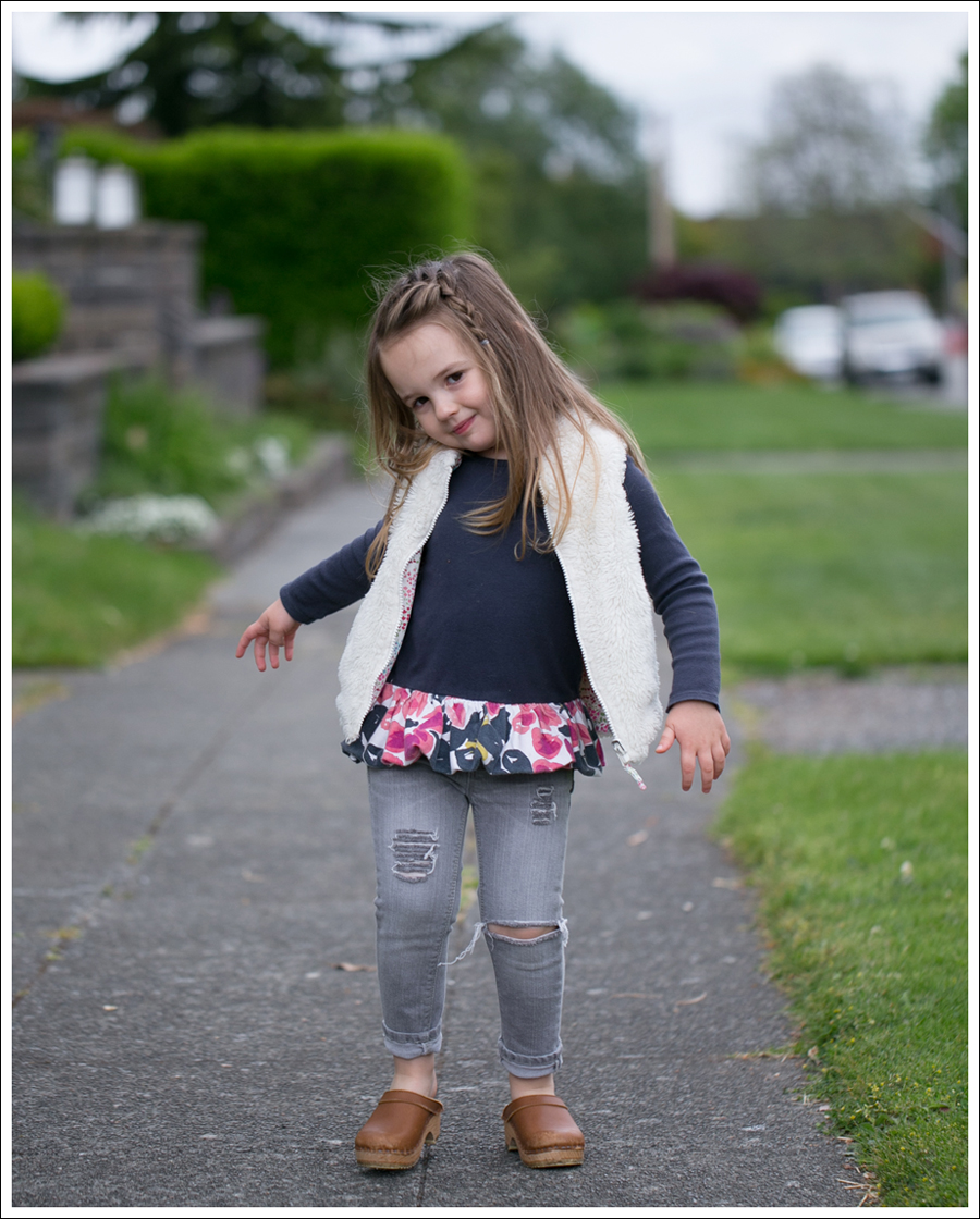 Blog GapKids Faux Fur Reversible Vest Tea Collection Gray Floral Tunic Skinny Mini Destroyed Gray Jeans Sven Clogs-8