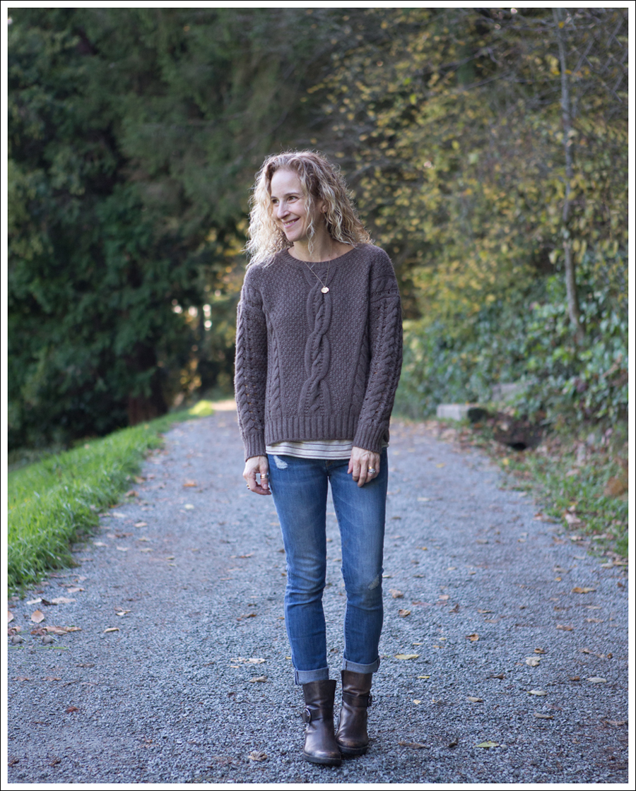 Blog Vince Cable Knit Sweater Destroyed Skinny Jeans Cafe Noire Boots-1