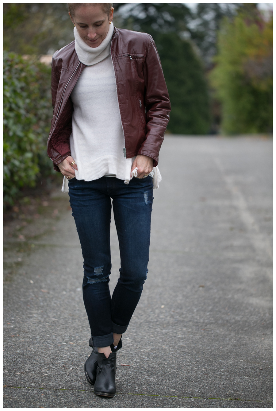 Blog Vintage Leather Jacket 360 Cashmere Turtleneck Sweater DL1961 Amanda Sevelle 67 Booties-2