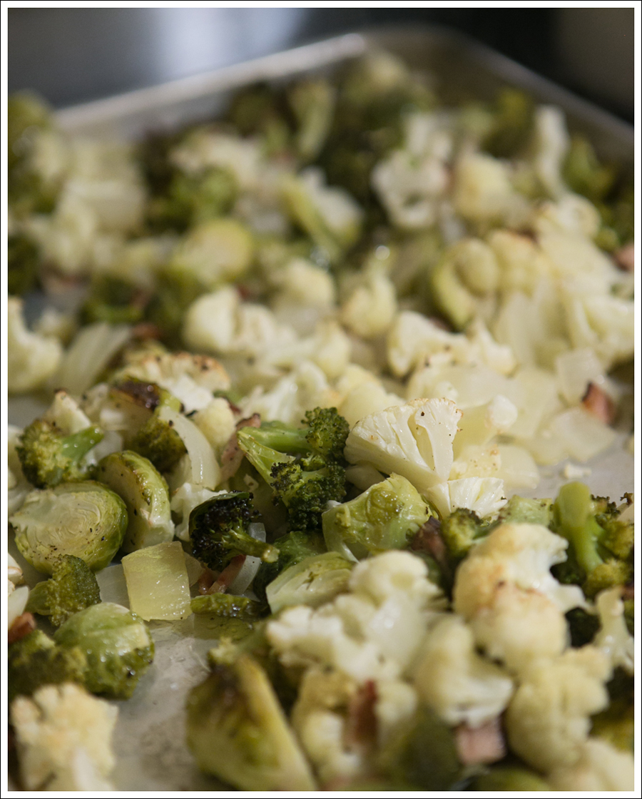 Blog Baked Brussels Sprouts Cauliflower Broccoli Bacon Paleo Whole30-1