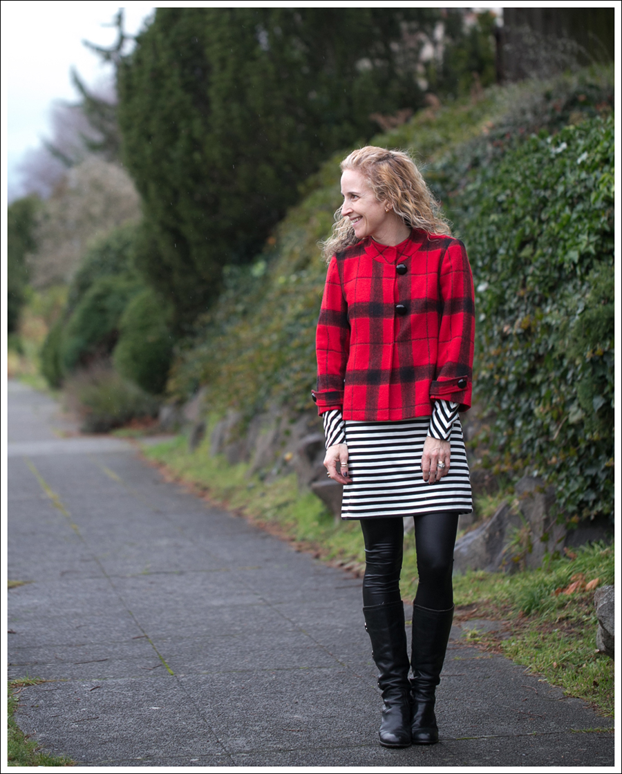 Blog Elliot Lauren Buffalo Plaid Silence Noise Striped Dress Frye Fiona 3 Strap Boots-1