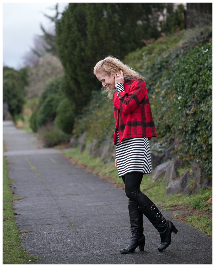 Blog Elliot Lauren Buffalo Plaid Silence Noise Striped Dress Frye Fiona 3 Strap Boots-2