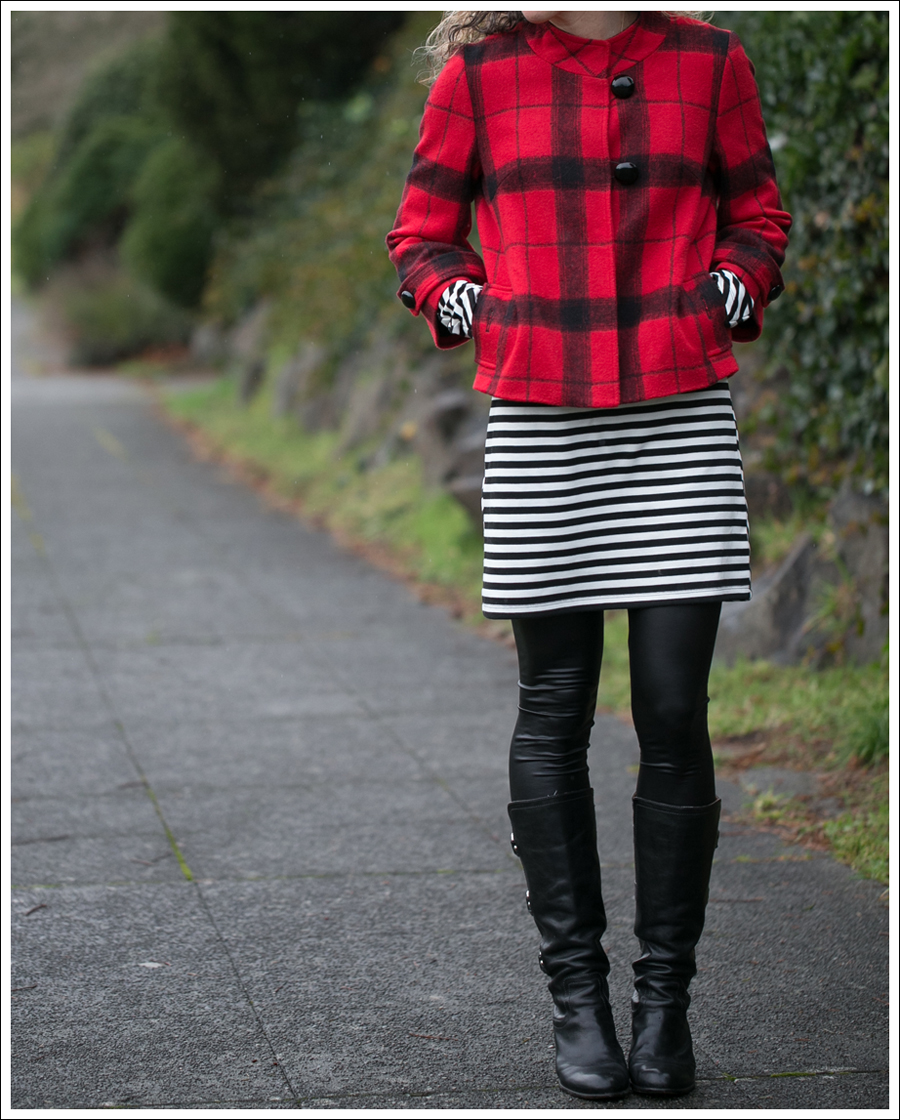 Blog Elliot Lauren Buffalo Plaid Silence Noise Striped Dress Frye Fiona 3 Strap Boots-3