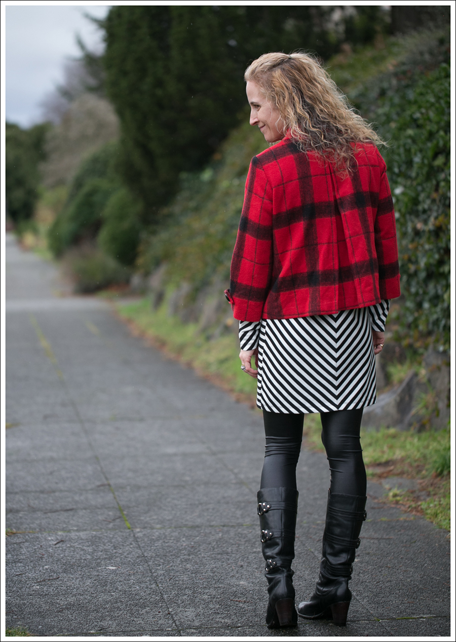 Blog Elliot Lauren Buffalo Plaid Silence Noise Striped Dress Frye Fiona 3 Strap Boots-4