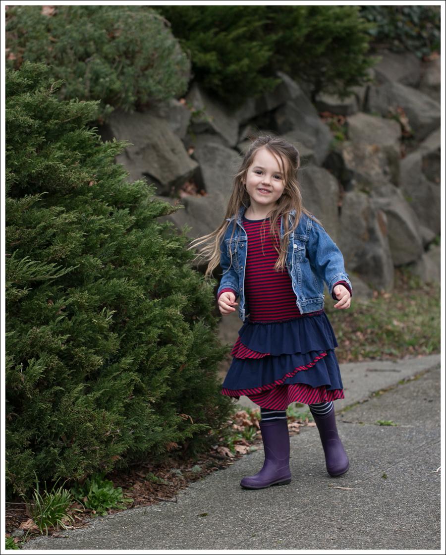 Blog Toddler Levis Jacket Hanna Andersson Tiered Dress Kamik Rain Boots-1