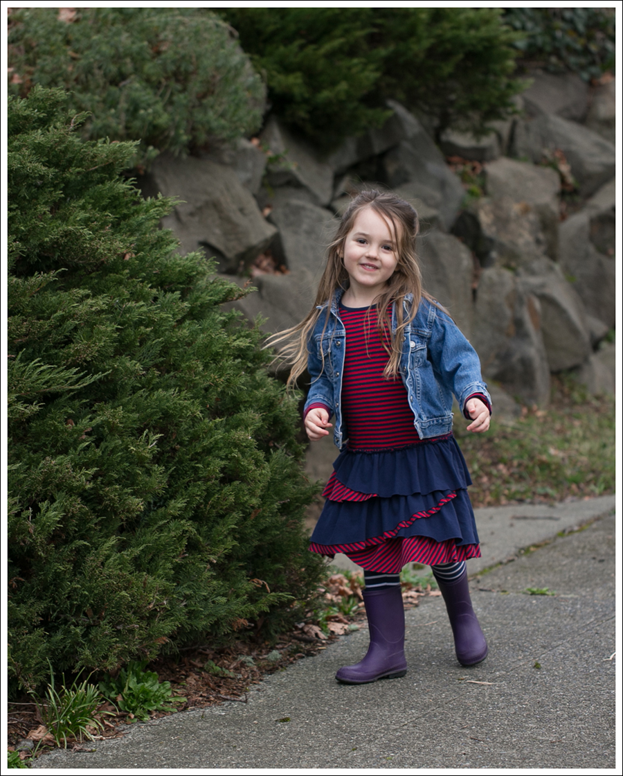Blog Toddler Levis Jacket Hanna Andersson Tiered Dress Kamik Rain Boots-1
