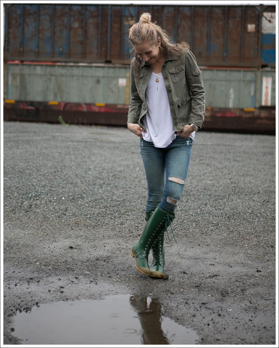 Blog J Crew Military Jacket 3 Dots Tee DL1961 Margaux Gibson Hunter Lace Up Knee Boots-1