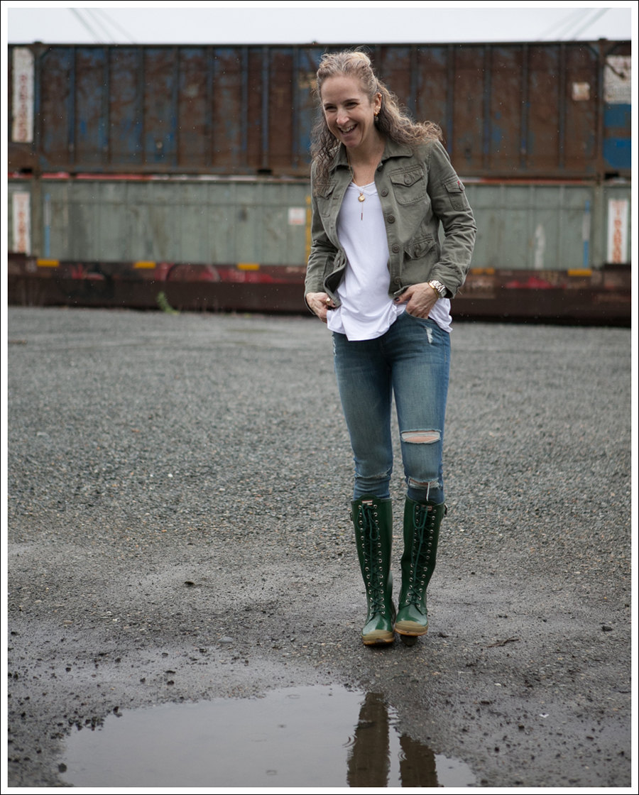 Blog J Crew Military Jacket 3 Dots Tee DL1961 Margaux Gibson Hunter Lace Up Knee Boots-2