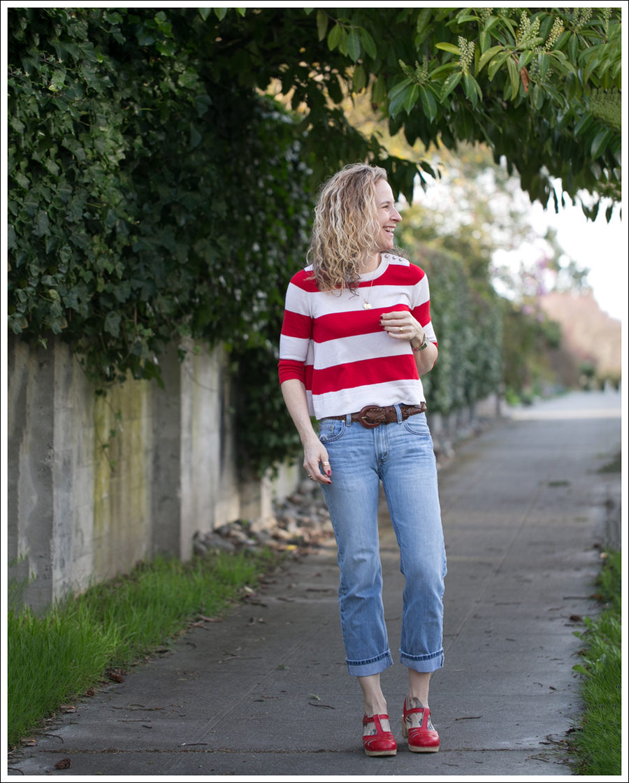Blog Marley Striped Crop Sweater Levis 505 Sven Lacy Clogs-1