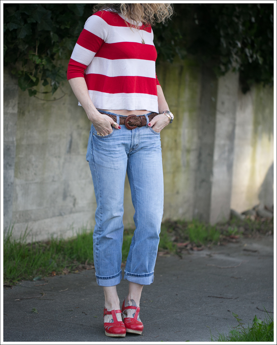 Blog Marley Striped Crop Sweater Levis 505 Sven Lacy Clogs-3