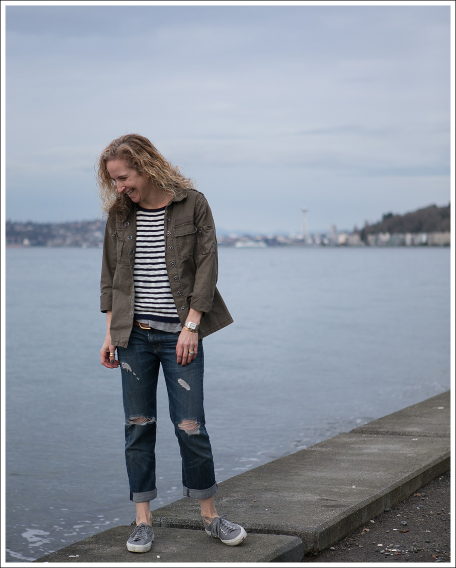 Blog Blank NYC Army Shirt StyleMint Striped Sweater Current Elliott Boyfriend Supergas-2