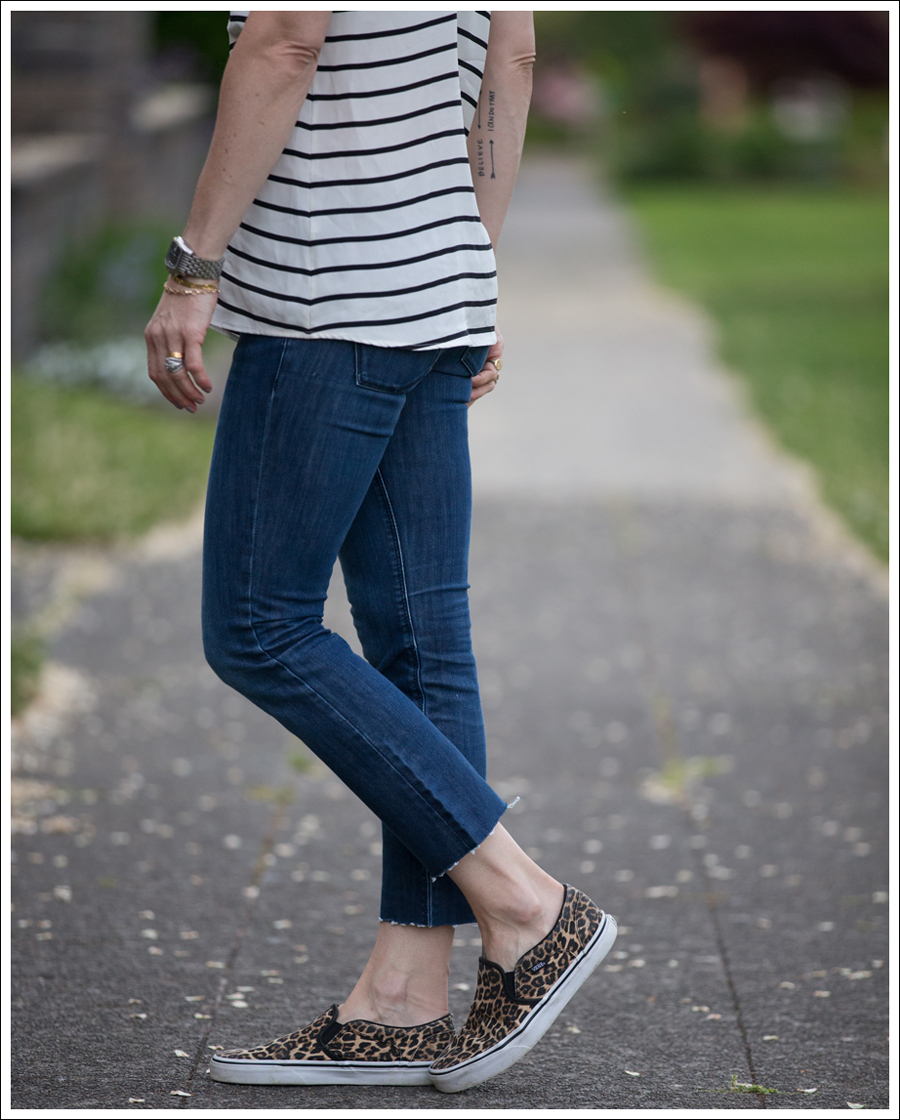 Blog Emerson Thorpe Striped Tank DL1961 DIY Crop Flares Leopard Vans Slip Ons-5
