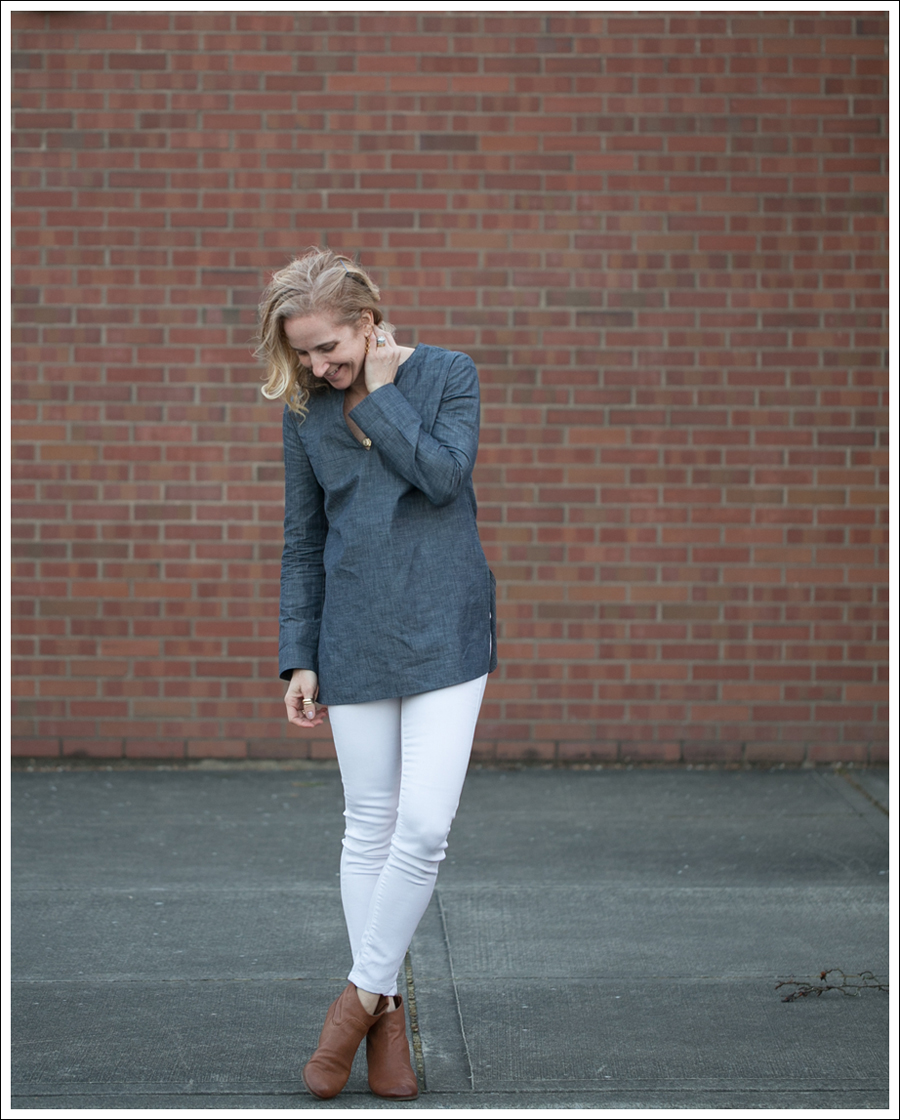 Blog J Crew Denim Tunic Genetic Denim White Shane Same Edelman Booties-1