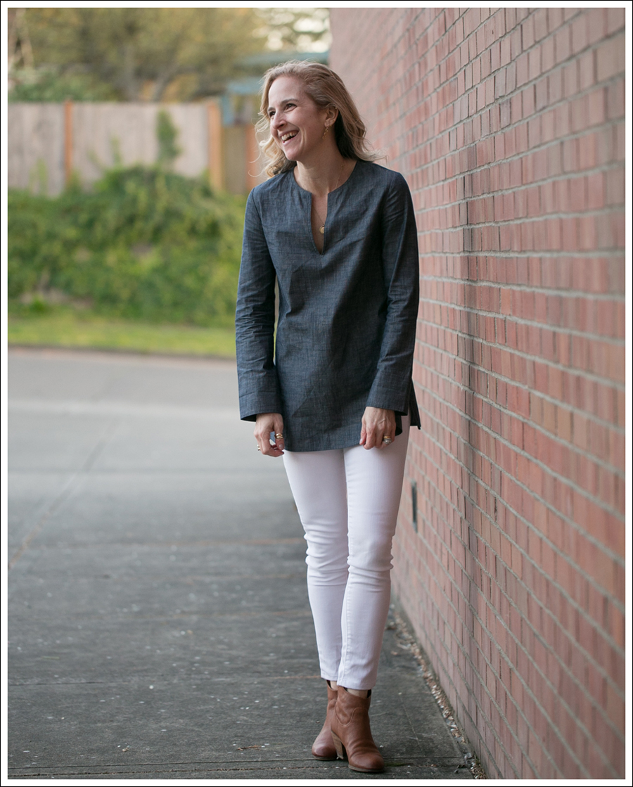 Blog J Crew Denim Tunic Genetic Denim White Shane Same Edelman Booties-5