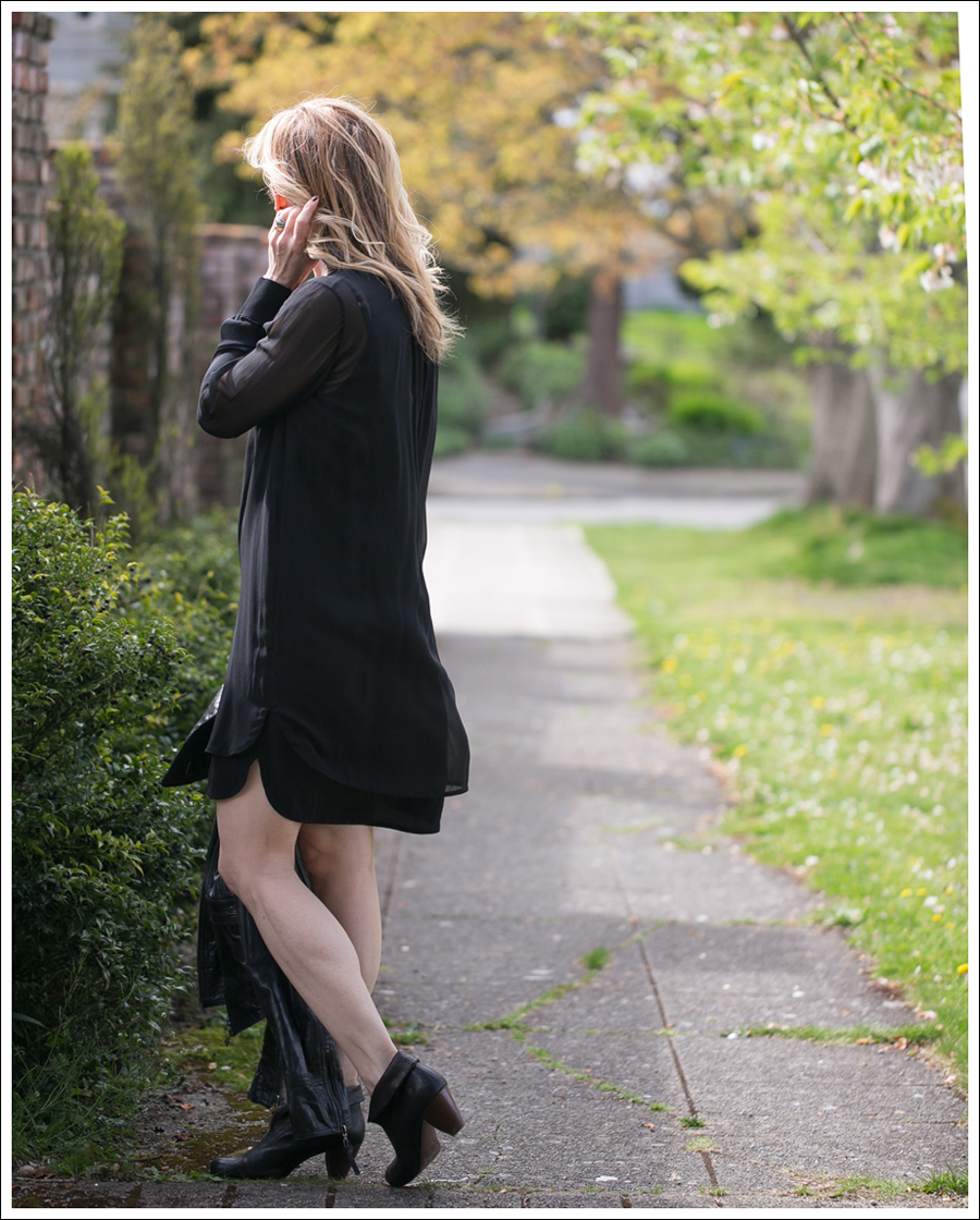 Blog Vince Black Sheer Silk Shirtdress Doma Leather Jacket Frye Lisa Booties-1