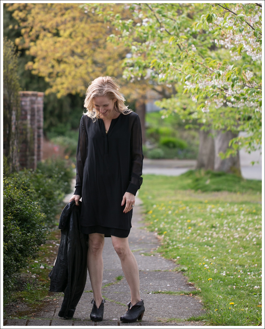 Blog Vince Black Sheer Silk Shirtdress Doma Leather Jacket Frye Lisa Booties-2