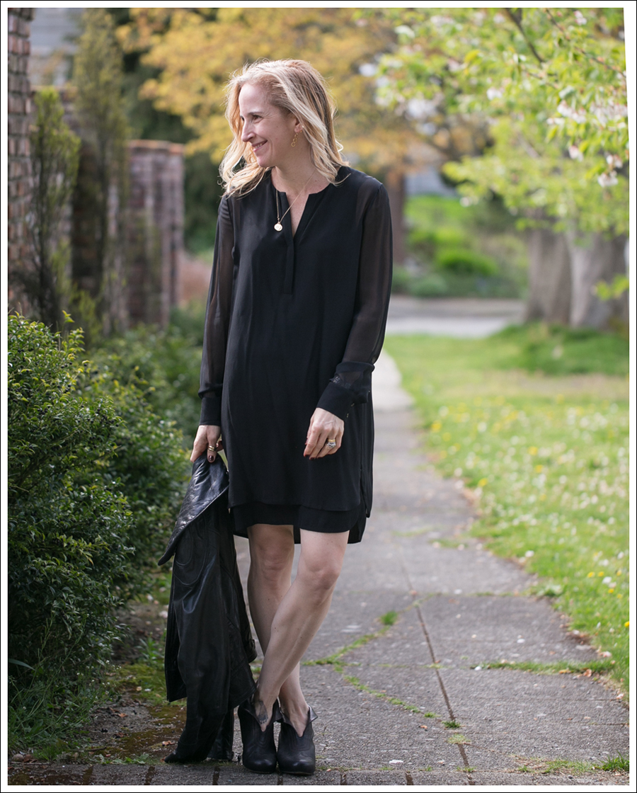 Blog Vince Black Sheer Silk Shirtdress Doma Leather Jacket Frye Lisa Booties-3
