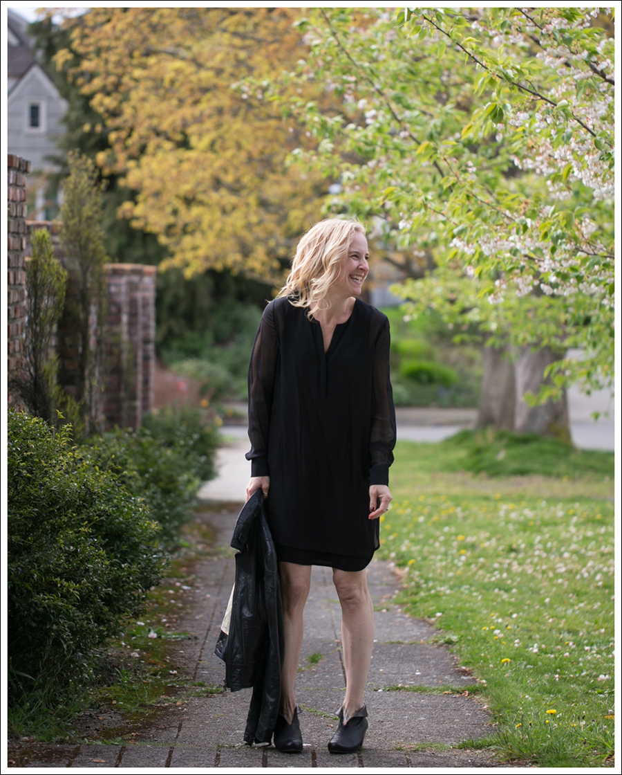 Blog Vince Black Sheer Silk Shirtdress Doma Leather Jacket Frye Lisa Booties-4