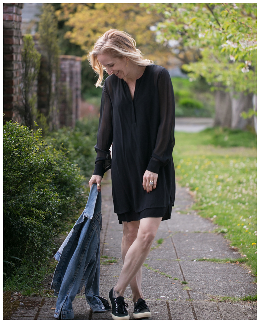 Blog Vince Black Sheer Silk Shirtdress Levis Jean Jacket Supergas-3