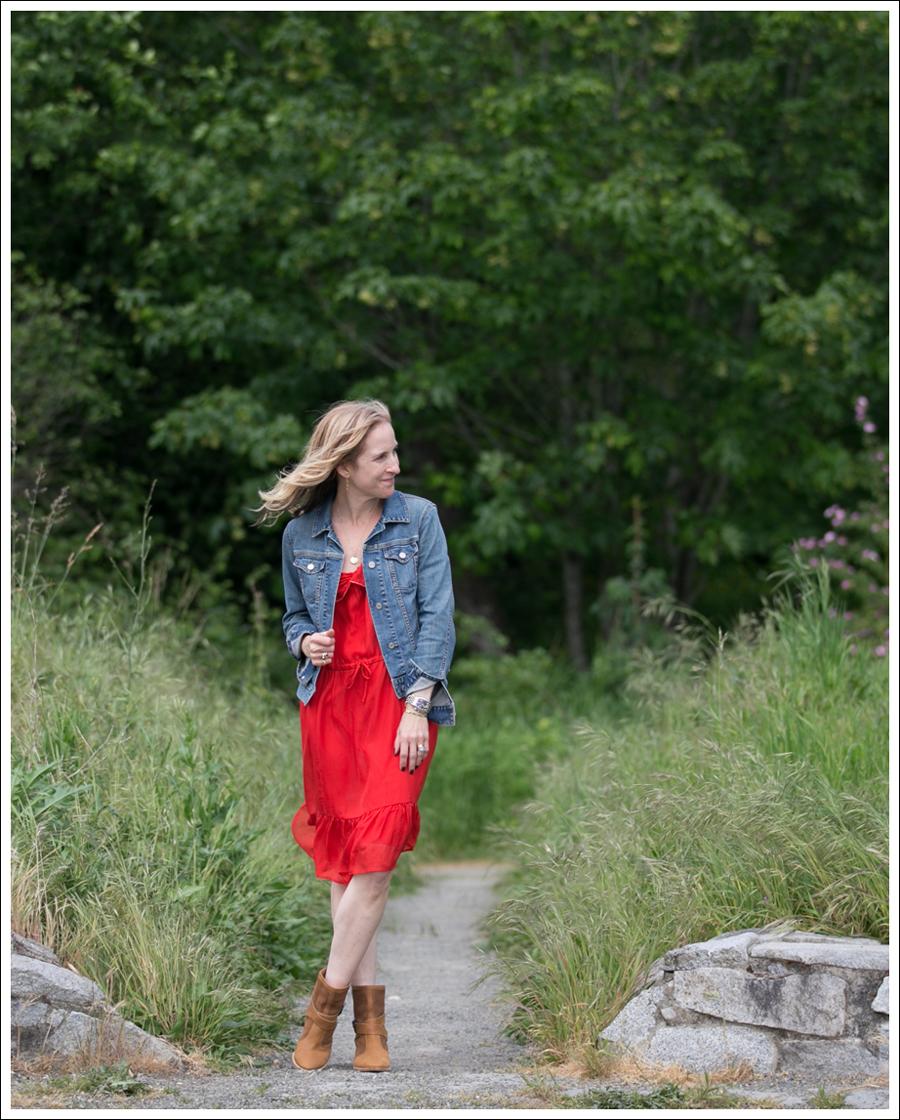 Blog Gap Jean Jacket Cynthia Vincent Silk Dress Aquatalia Boots-1