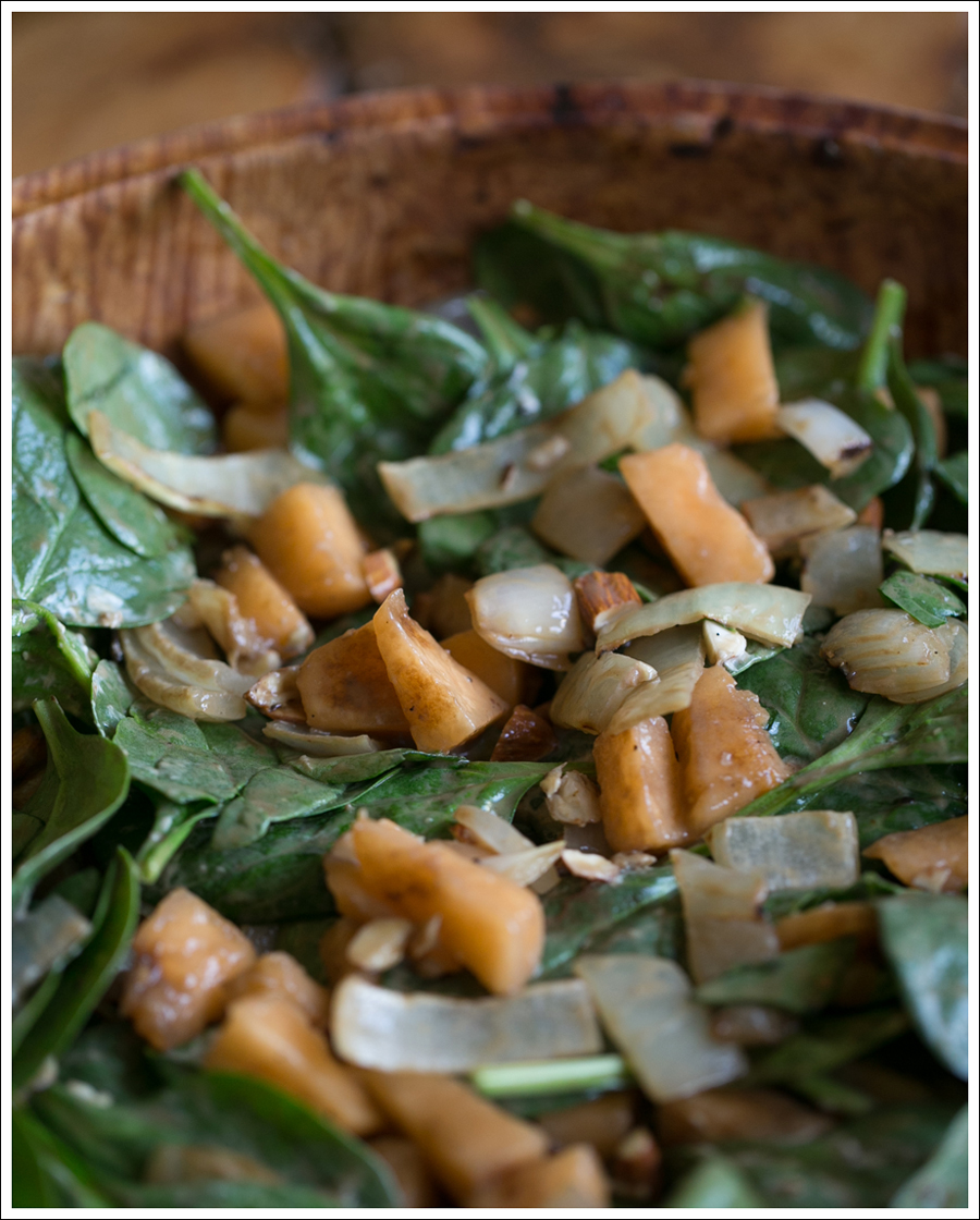 Blog Grilled Onion Cantaloupe Goat Cheese Almond and Spinach Salad-1