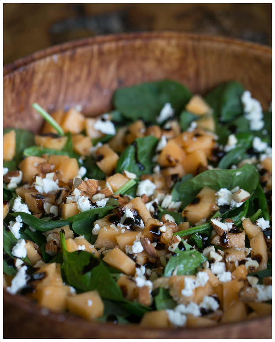 Blog Grilled Onion Cantaloupe Goat Cheese Almond and Spinach Salad-2