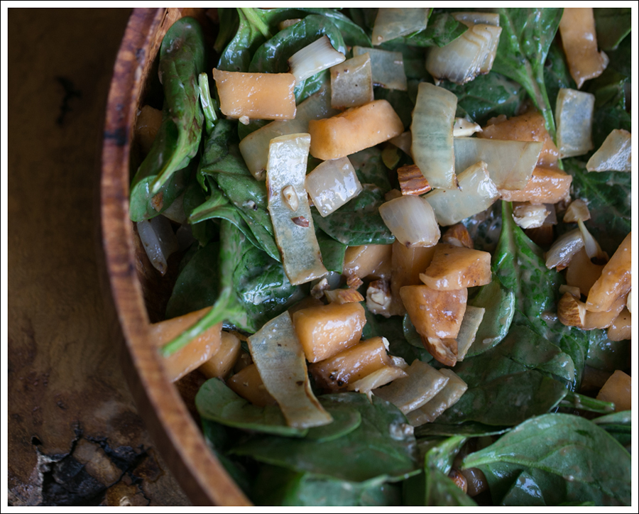 Blog Grilled Onion Cantaloupe Goat Cheese Almond and Spinach Salad-3
