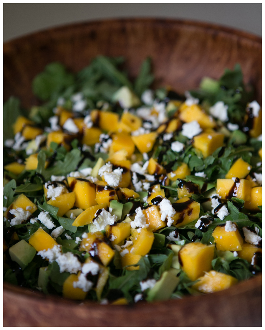 Blog Mango Avocado Goat Cheese Arugula Salad-1
