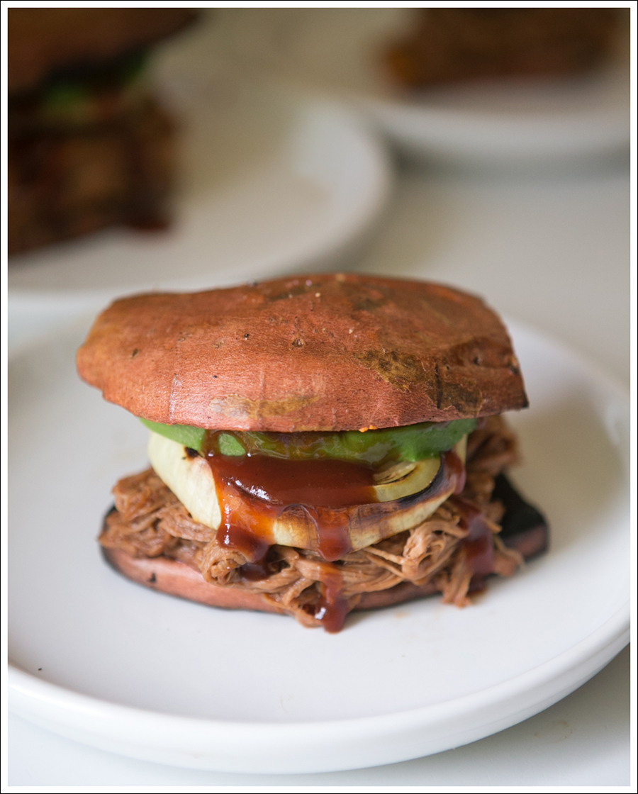 Blog Paleo Whole 30 BBQ Pulled Pork Sweat Potato Bun Sandwiches-1