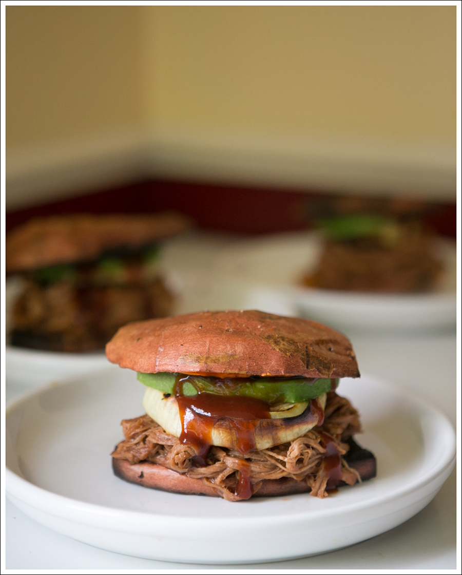 Blog Paleo Whole 30 BBQ Pulled Pork Sweat Potato Bun Sandwiches-2