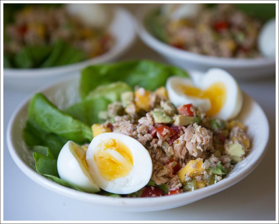 Blog Paleo Whole30 Salmon Avocado Mango Salad with Soft Boiled Egg -2