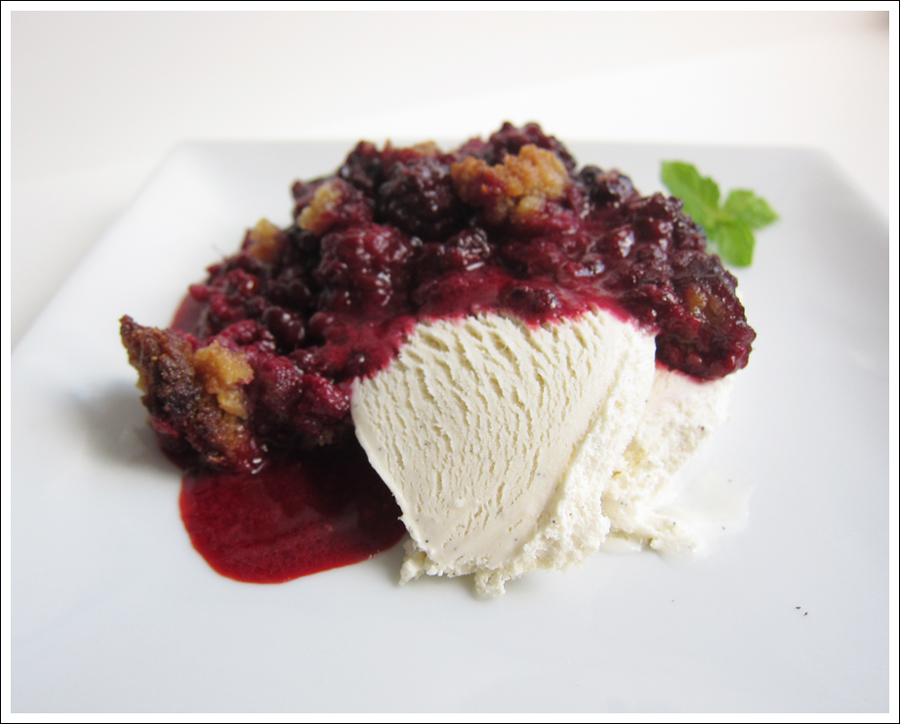 Blackberry paleo crumble 2016 with vanilla icecream for blog