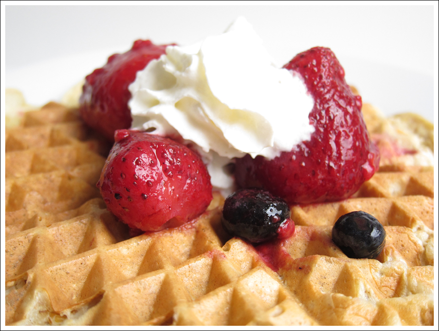 protein waffles with berries cream blog